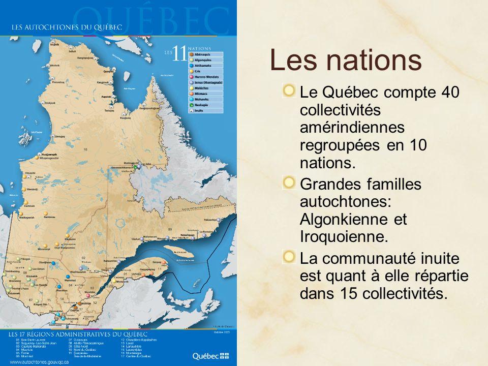Les nations Le Québec compte 40 collectivités amérindiennes regroupées en 10 nations. Grandes familles autochtones: Algonkienne et Iroquoienne.