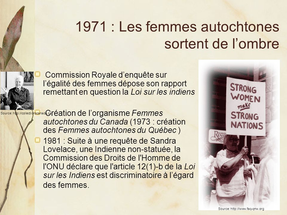1971 : Les femmes autochtones sortent de l'ombre