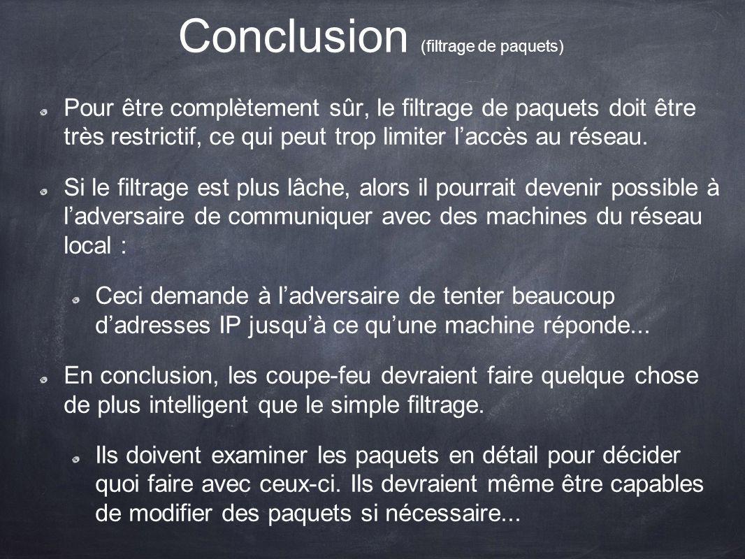 Conclusion (filtrage de paquets)