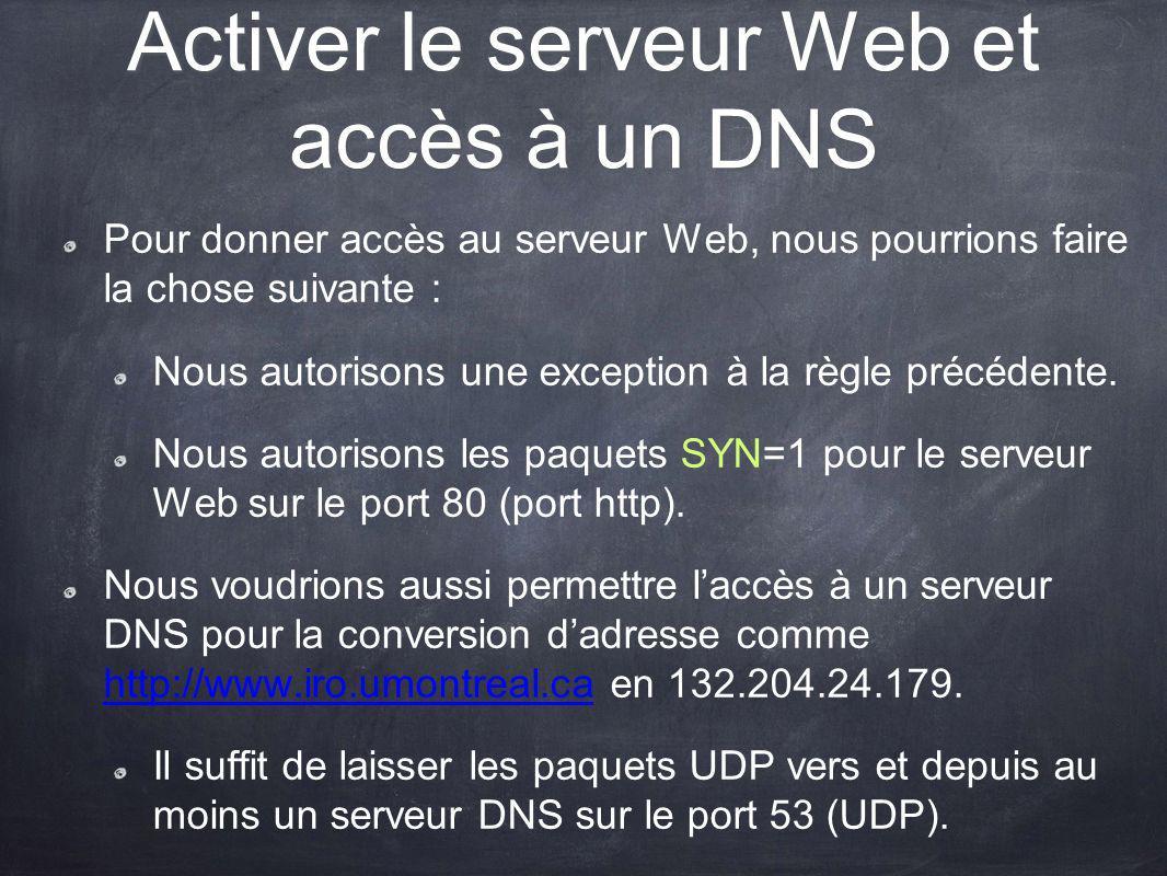 Activer le serveur Web et accès à un DNS