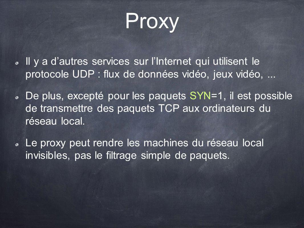 Proxy Il y a d'autres services sur l'Internet qui utilisent le protocole UDP : flux de données vidéo, jeux vidéo, ...