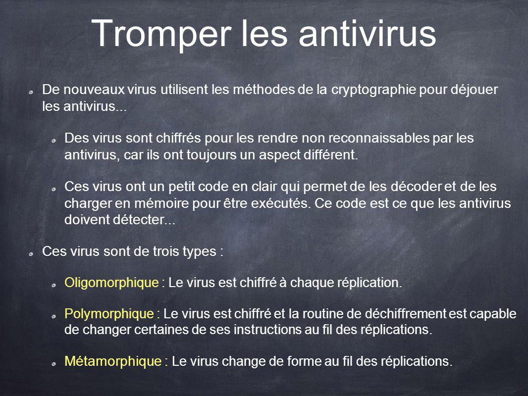 Tromper les antivirus De nouveaux virus utilisent les méthodes de la cryptographie pour déjouer les antivirus...