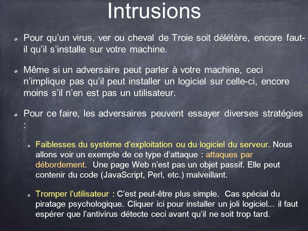 Intrusions Pour qu'un virus, ver ou cheval de Troie soit délétère, encore faut- il qu'il s'installe sur votre machine.