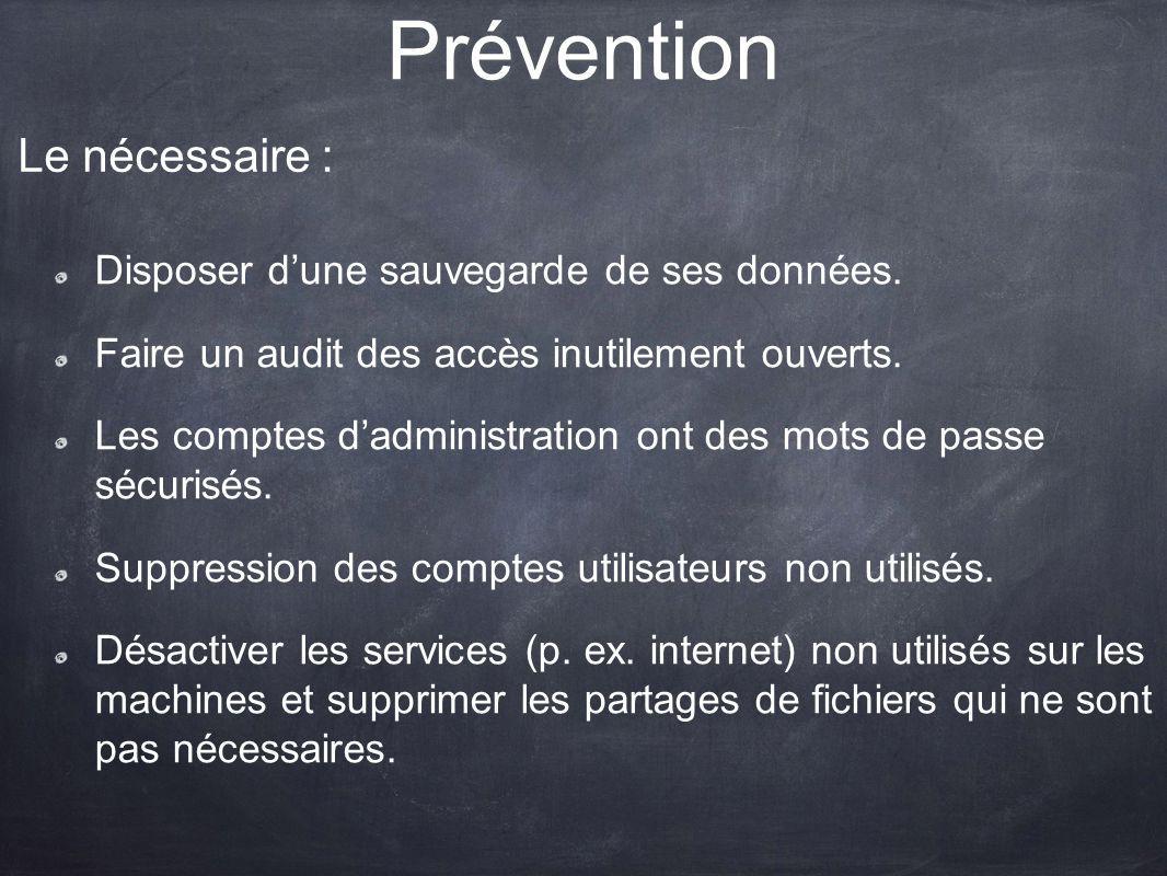 Prévention Le nécessaire : Disposer d'une sauvegarde de ses données.