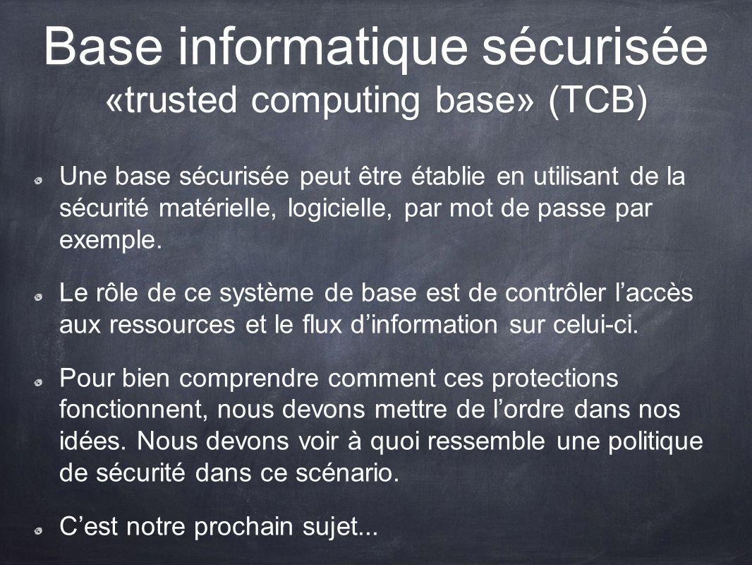 Base informatique sécurisée «trusted computing base» (TCB)