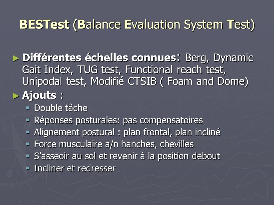 BESTest (Balance Evaluation System Test)