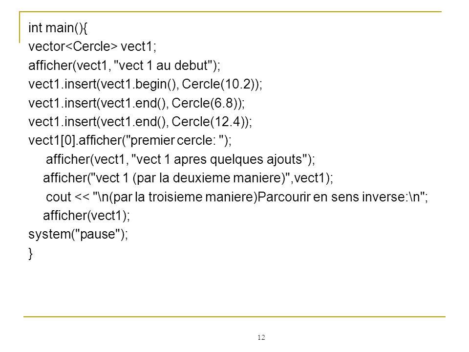 int main(){ vector<Cercle> vect1; afficher(vect1, vect 1 au debut ); vect1.insert(vect1.begin(), Cercle(10.2));