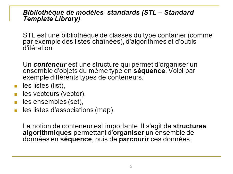 Bibliothèque de modèles standards (STL – Standard Template Library)