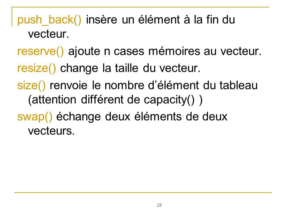 push_back() insère un élément à la fin du vecteur.