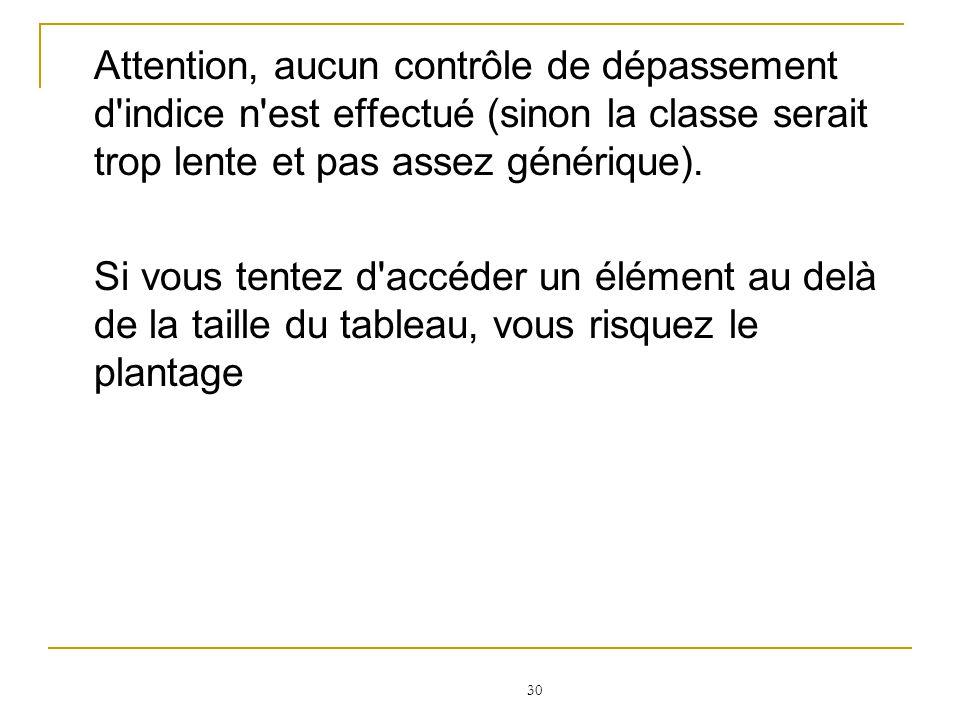 Attention, aucun contrôle de dépassement d indice n est effectué (sinon la classe serait trop lente et pas assez générique).