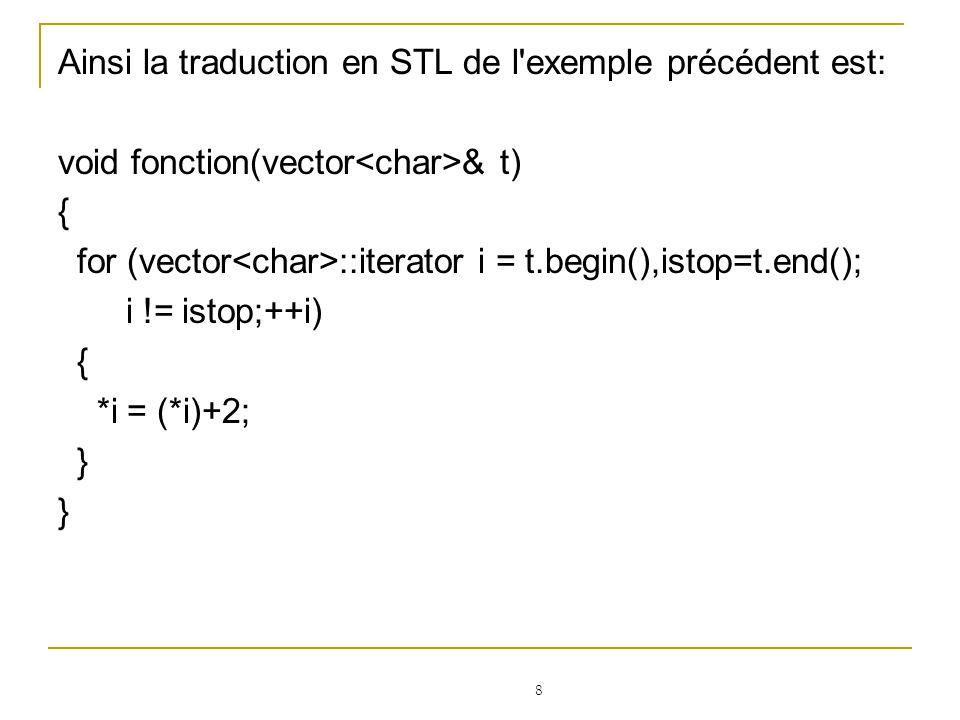 Ainsi la traduction en STL de l exemple précédent est: