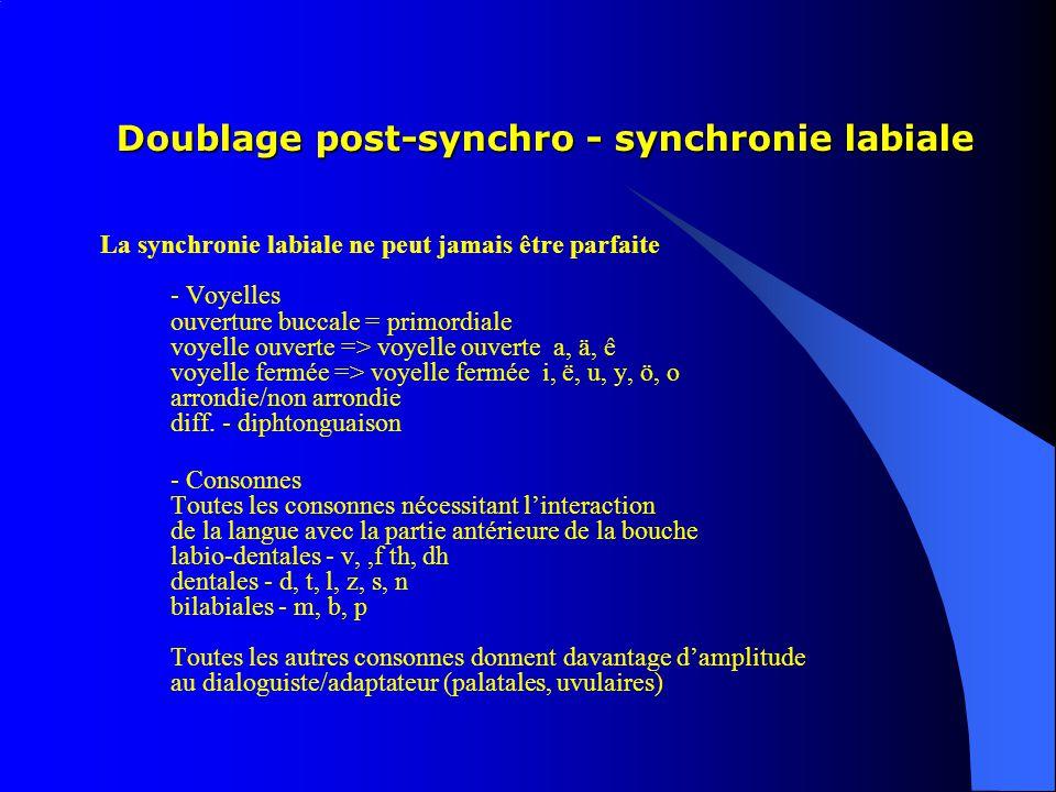 Doublage post-synchro - synchronie labiale