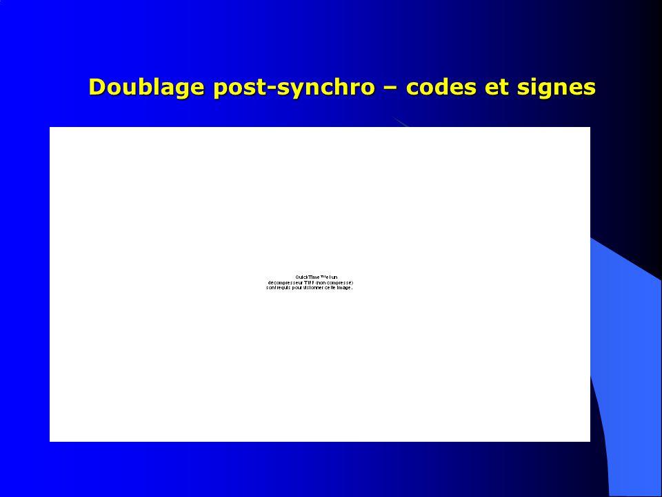 Doublage post-synchro – codes et signes