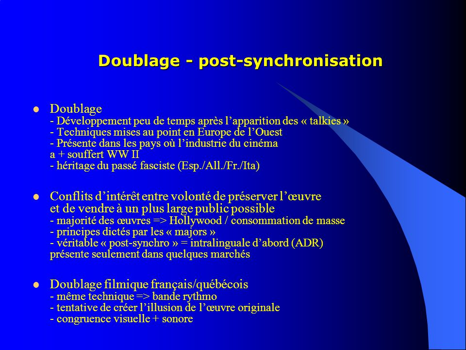 Doublage - post-synchronisation