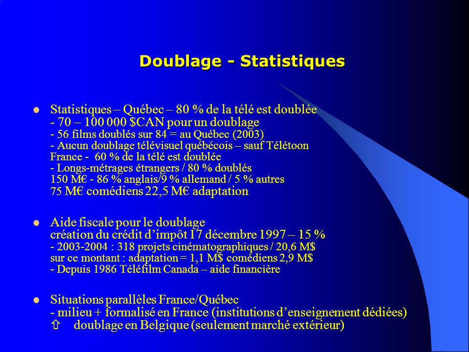 Doublage - Statistiques