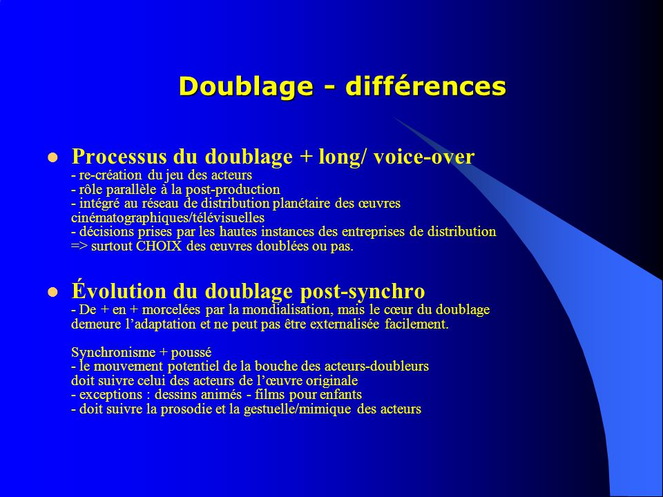 Doublage - différences