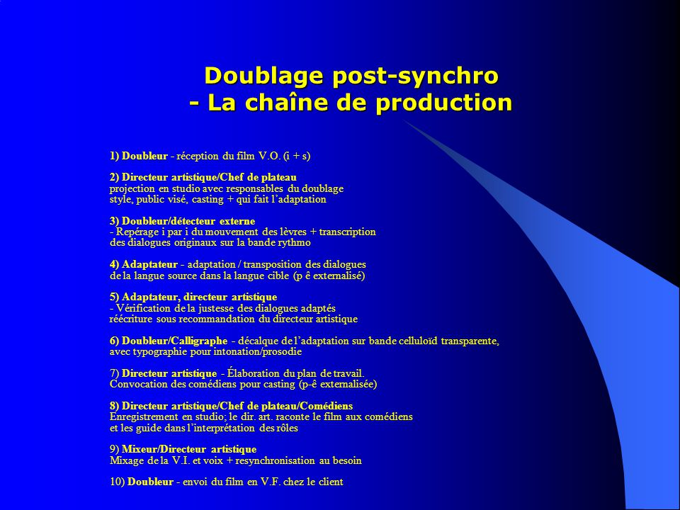 Doublage post-synchro - La chaîne de production