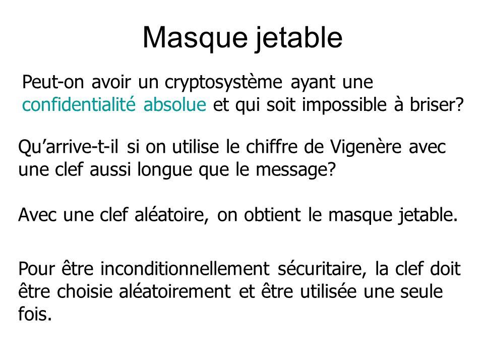 Masque jetable Peut-on avoir un cryptosystème ayant une confidentialité absolue et qui soit impossible à briser