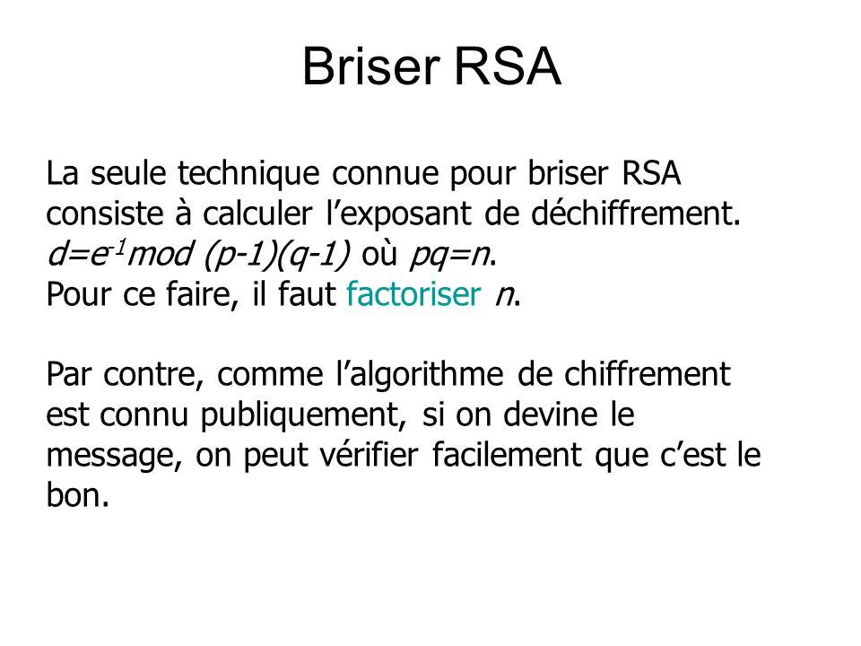 Briser RSA La seule technique connue pour briser RSA consiste à calculer l'exposant de déchiffrement.