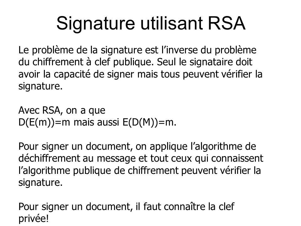 Signature utilisant RSA