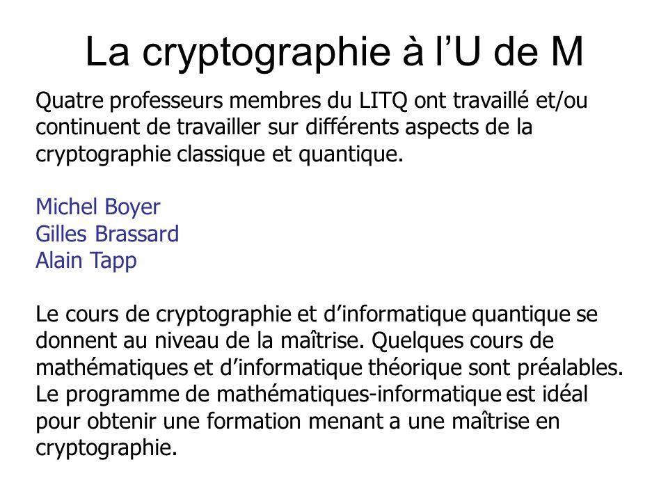 La cryptographie à l'U de M