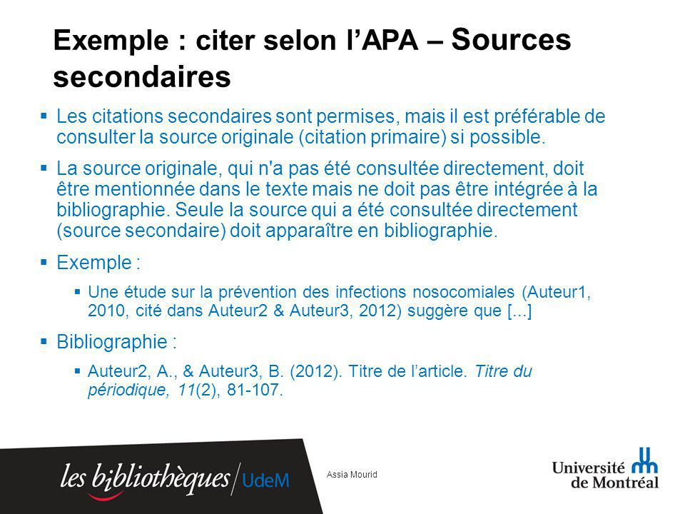 Exemple : citer selon l'APA – Sources secondaires