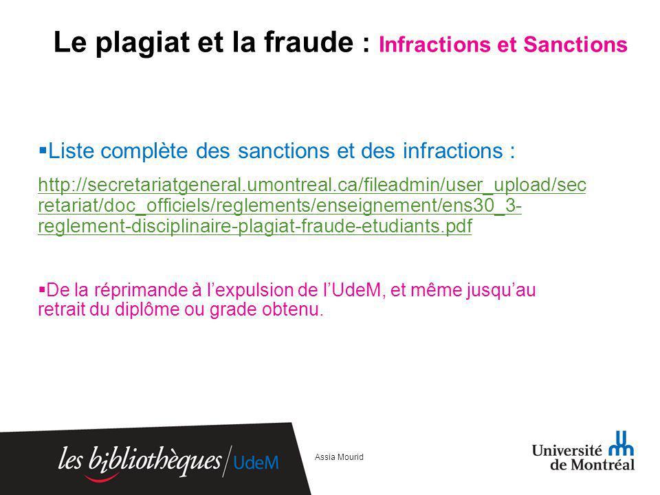 Le plagiat et la fraude : Infractions et Sanctions