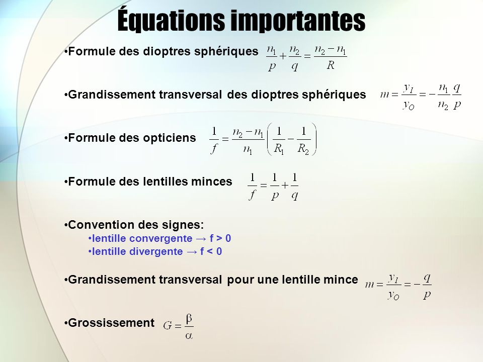 Équations importantes