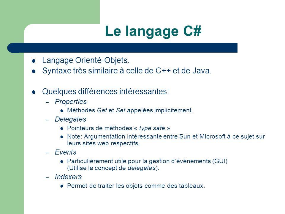 Le langage C# Langage Orienté-Objets.