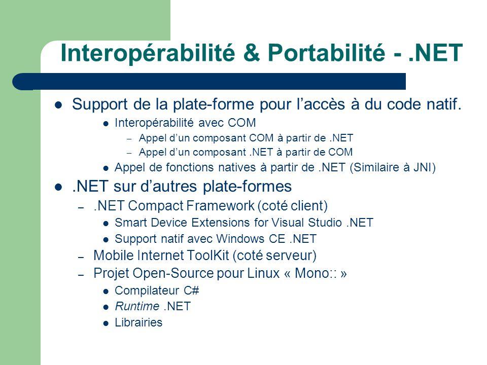 Interopérabilité & Portabilité - .NET
