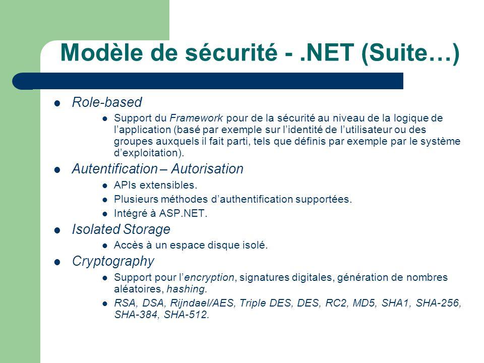 Modèle de sécurité - .NET (Suite…)