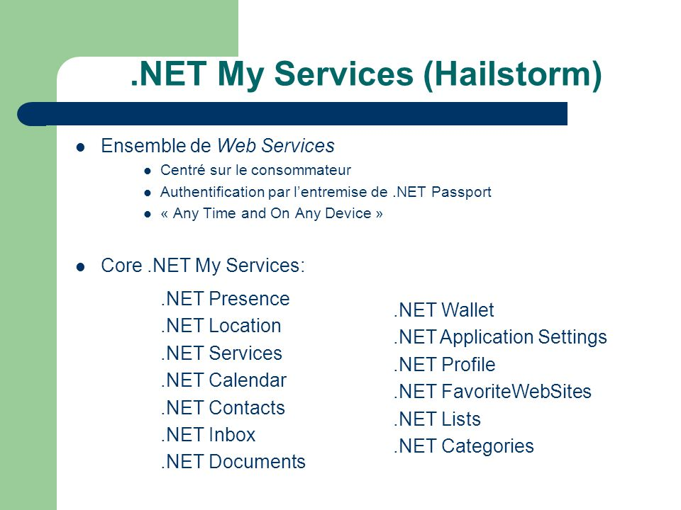 .NET My Services (Hailstorm)