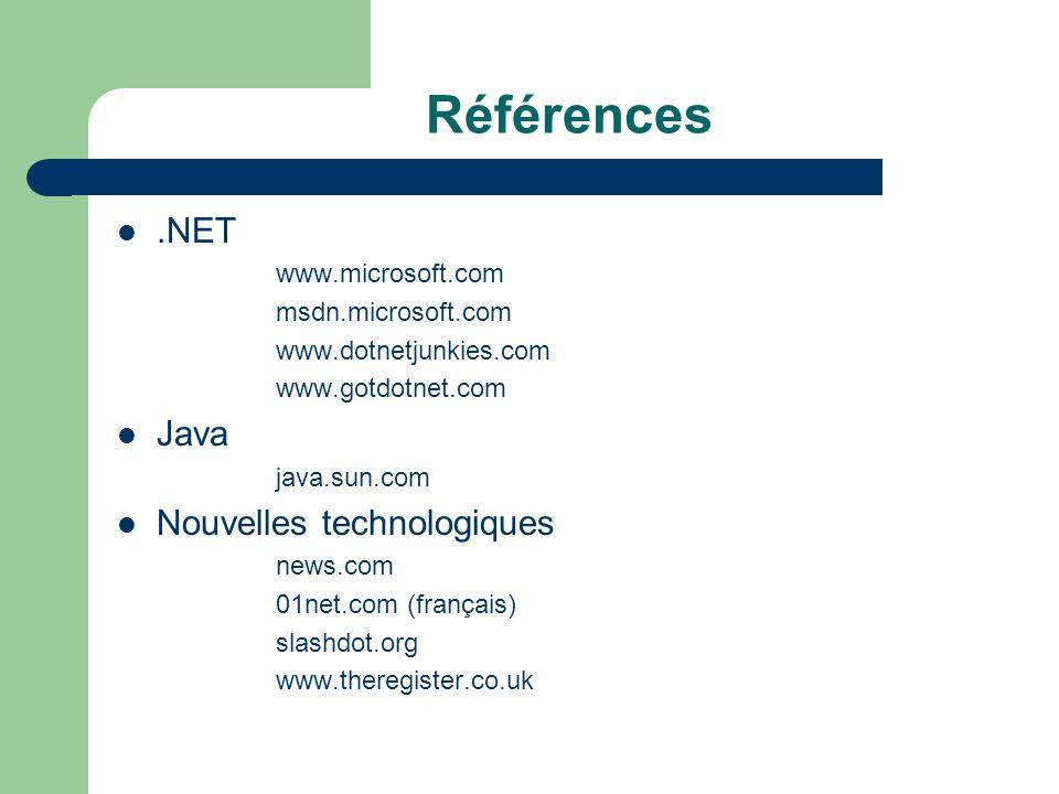 Références .NET Java Nouvelles technologiques www.microsoft.com