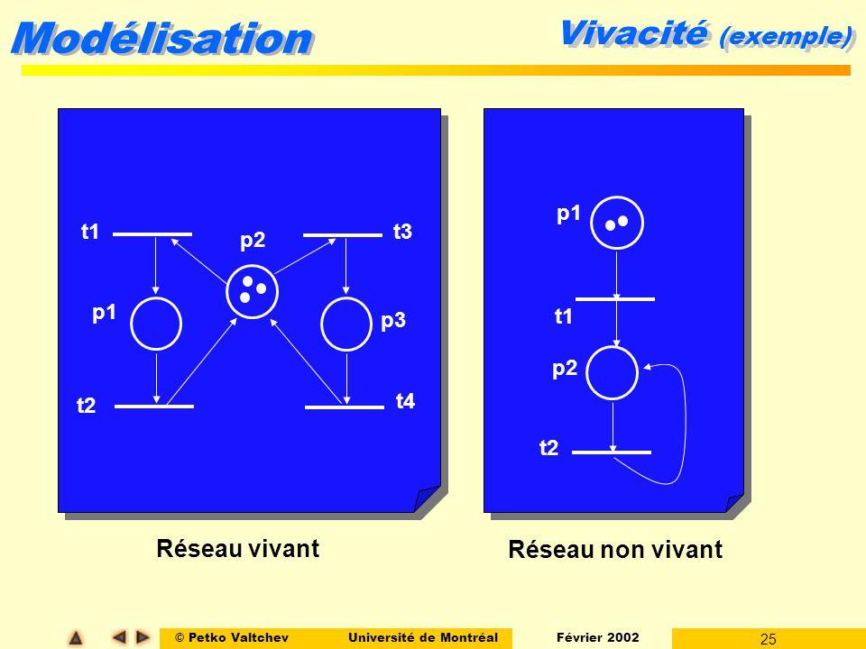 Vivacité (exemple) Réseau vivant Réseau non vivant p1 t1 t3 p2 p1 p3