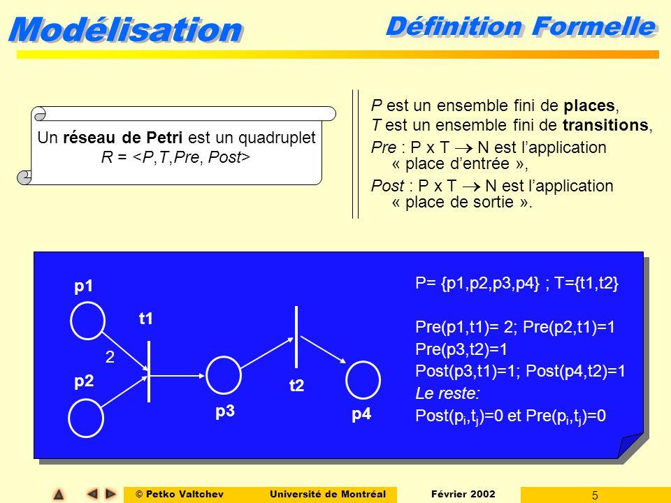 Un réseau de Petri est un quadruplet