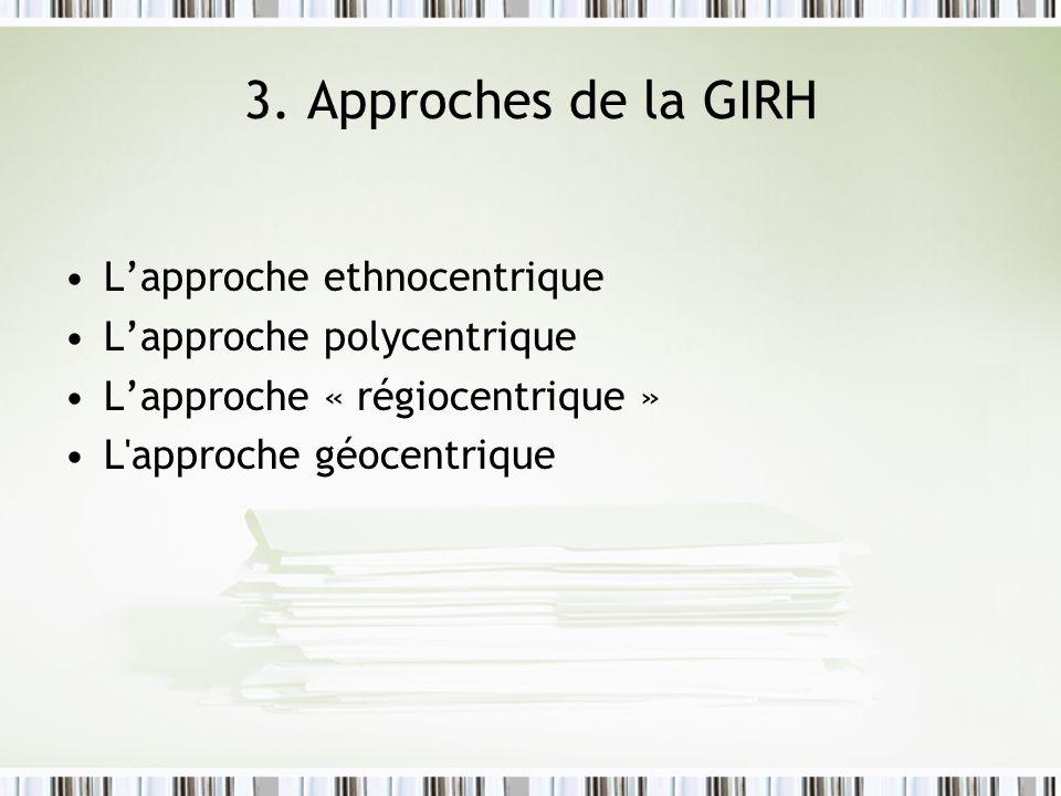 3. Approches de la GIRH L'approche ethnocentrique