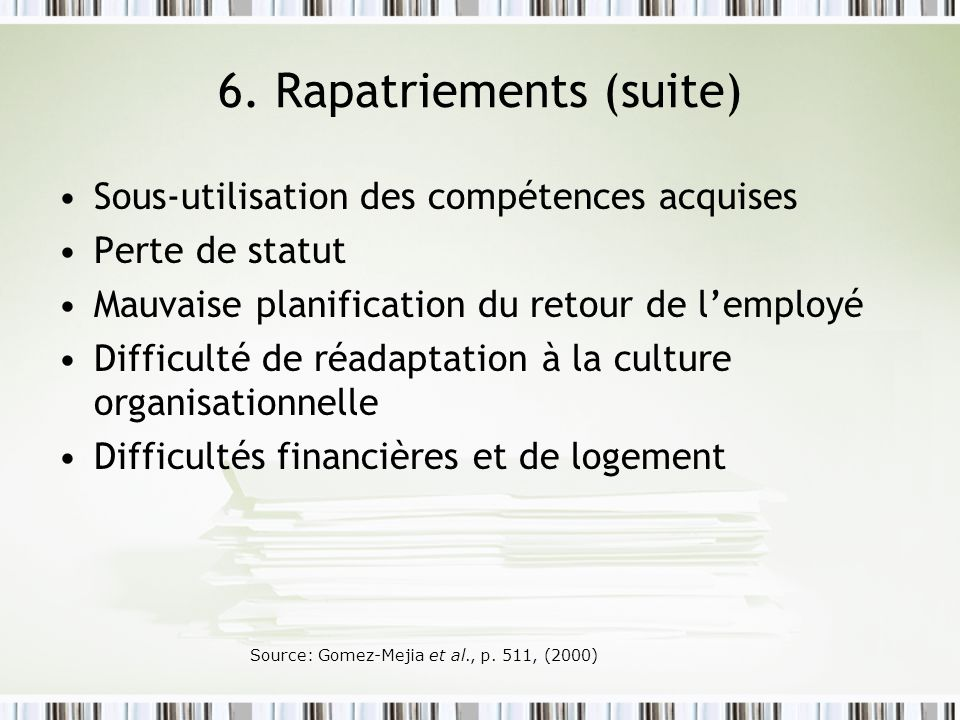 6. Rapatriements (suite)