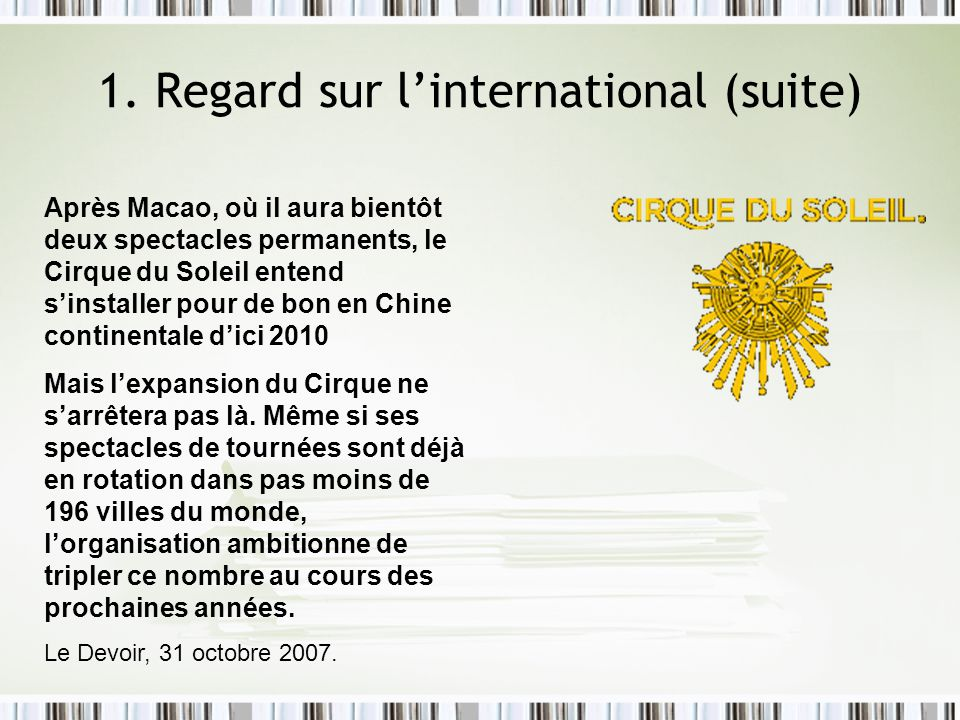 1. Regard sur l'international (suite)