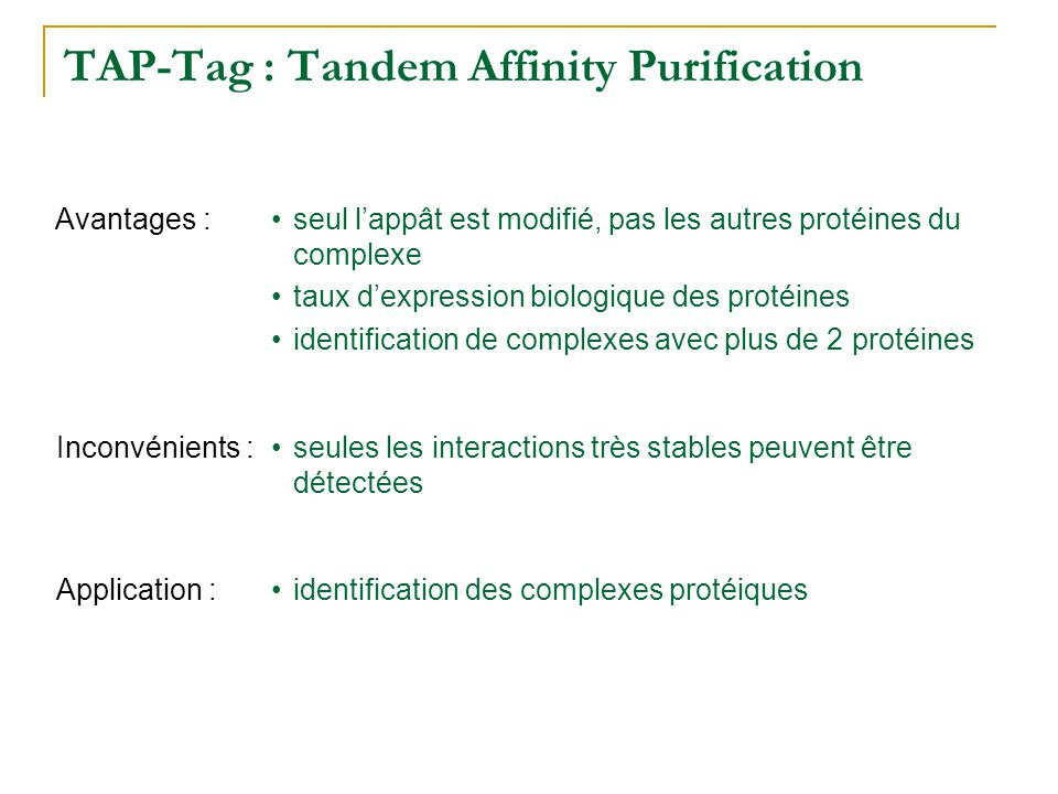 TAP-Tag : Tandem Affinity Purification