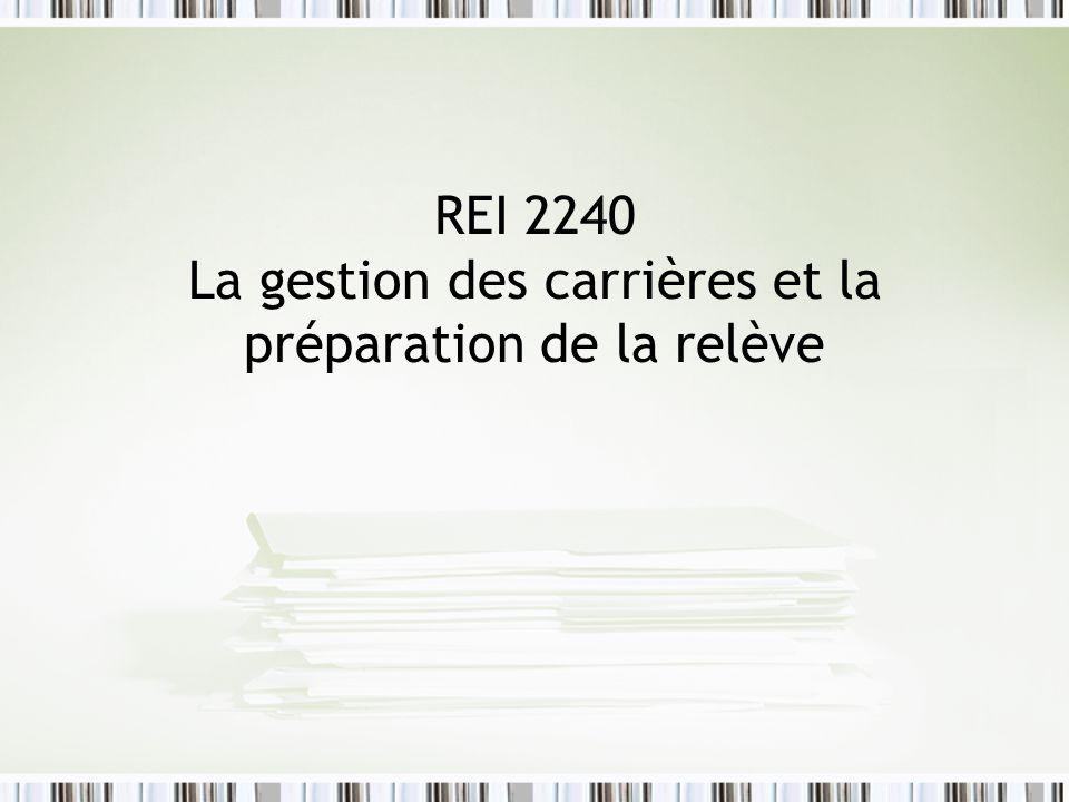 REI 2240 La gestion des carrières et la préparation de la relève