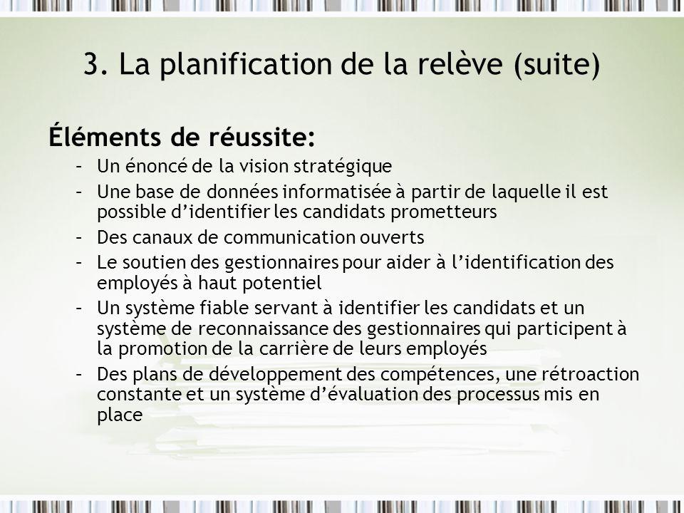 3. La planification de la relève (suite)