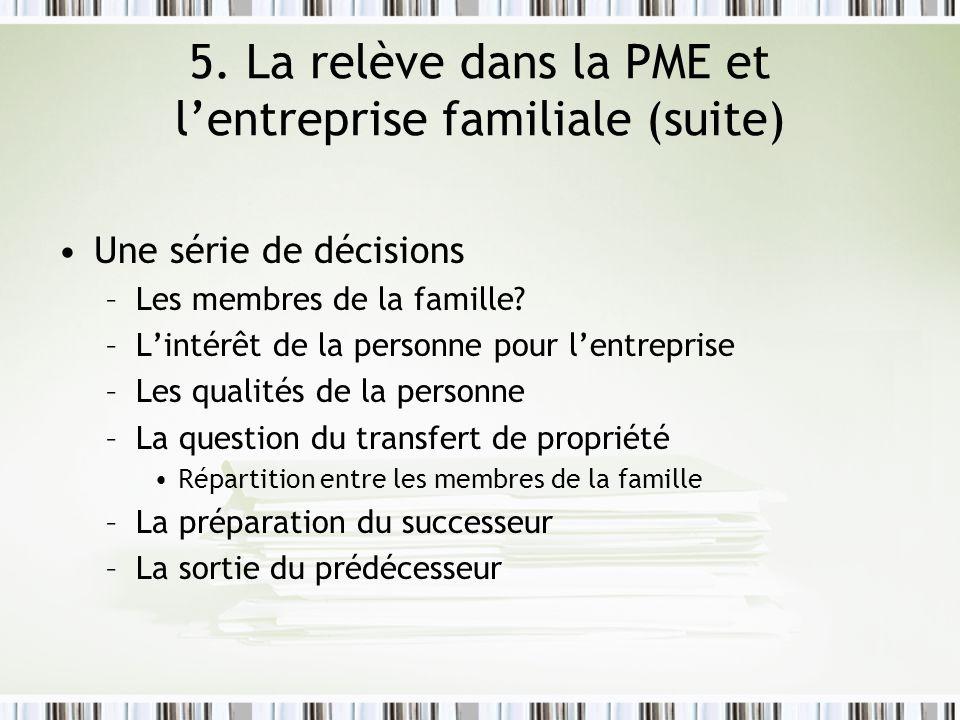 5. La relève dans la PME et l'entreprise familiale (suite)