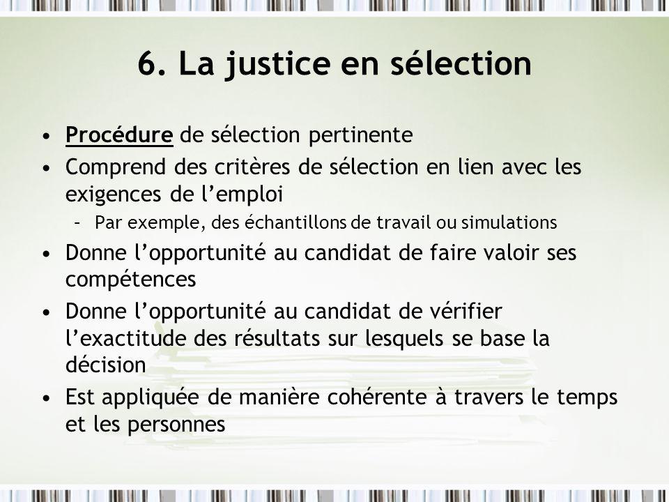 6. La justice en sélection