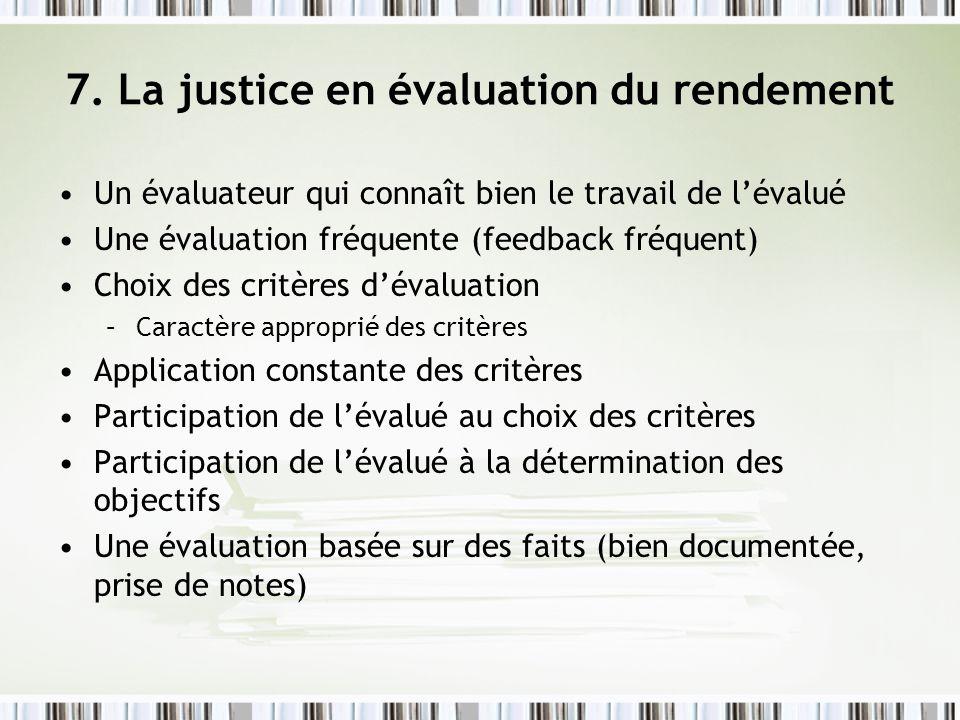 7. La justice en évaluation du rendement