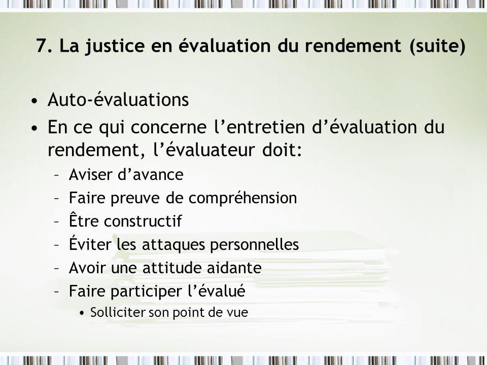 7. La justice en évaluation du rendement (suite)