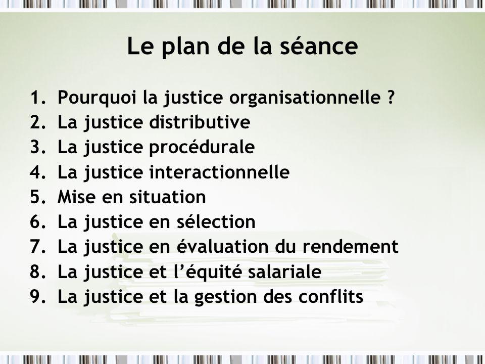 Le plan de la séance Pourquoi la justice organisationnelle
