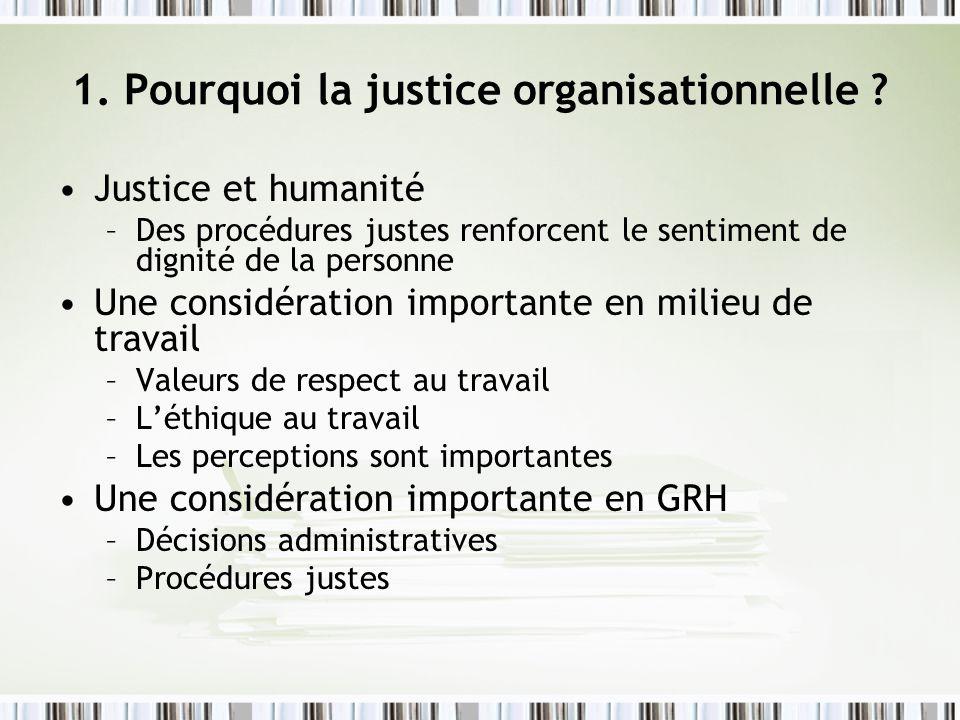 1. Pourquoi la justice organisationnelle