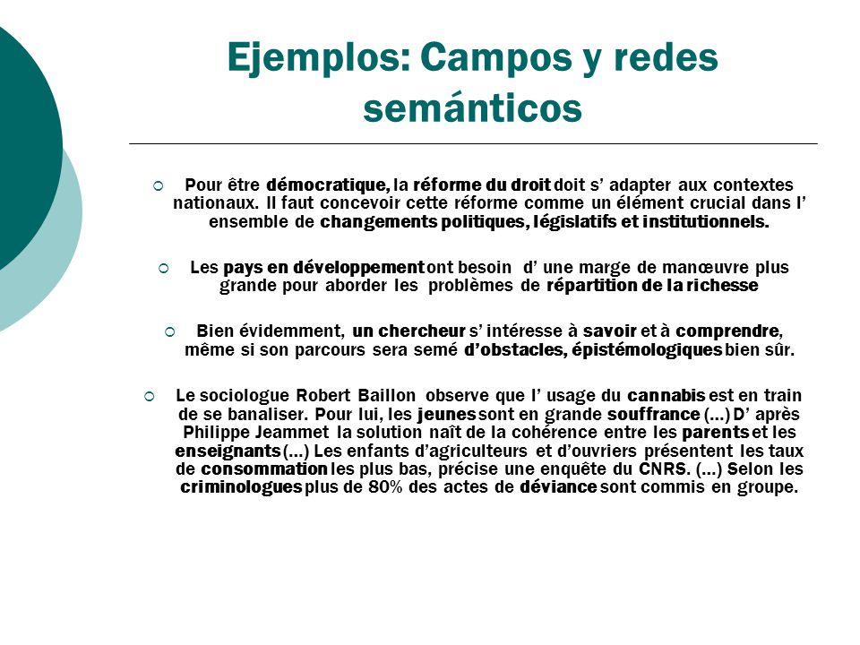 Ejemplos: Campos y redes semánticos