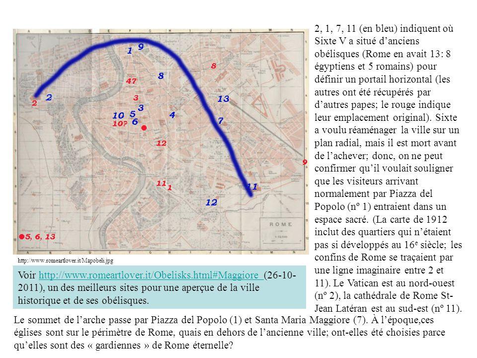 2, 1, 7, 11 (en bleu) indiquent où Sixte V a situé d'anciens obélisques (Rome en avait 13: 8 égyptiens et 5 romains) pour définir un portail horizontal (les autres ont été récupérés par d'autres papes; le rouge indique leur emplacement original). Sixte a voulu réaménager la ville sur un plan radial, mais il est mort avant de l'achever; donc, on ne peut confirmer qu'il voulait souligner que les visiteurs arrivant normalement par Piazza del Popolo (nº 1) entraient dans un espace sacré. (La carte de 1912 inclut des quartiers qui n'étaient pas si développés au 16e siècle; les confins de Rome se traçaient par une ligne imaginaire entre 2 et 11). Le Vatican est au nord-ouest (nº 2), la cathédrale de Rome St-Jean Latéran est au sud-est (nº 11).