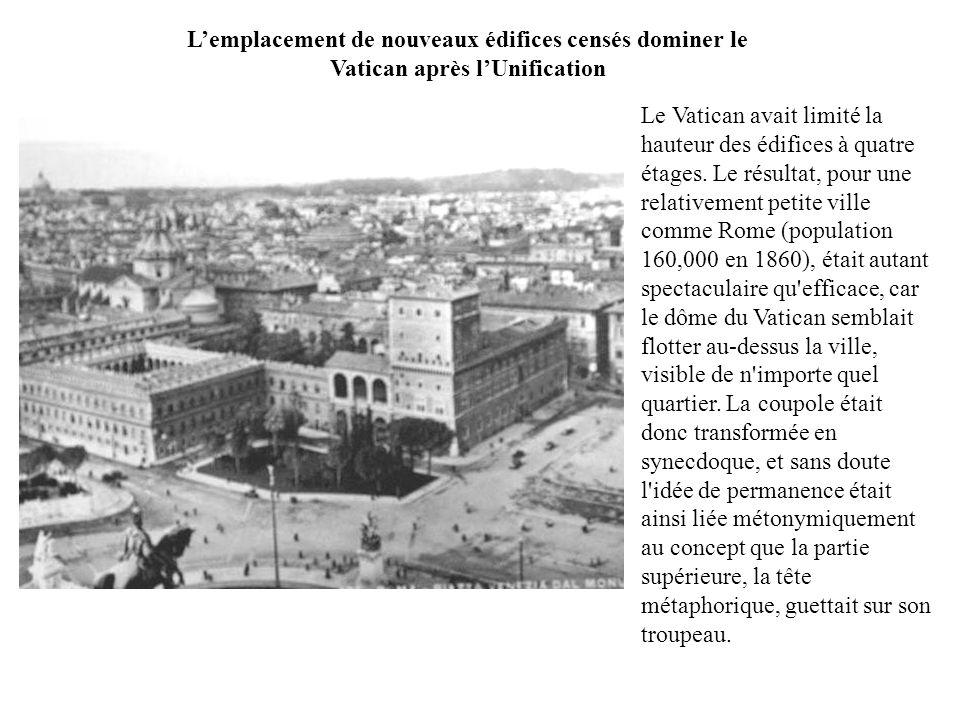 L'emplacement de nouveaux édifices censés dominer le Vatican après l'Unification